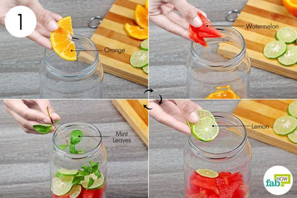 put sliced fruits in a jar