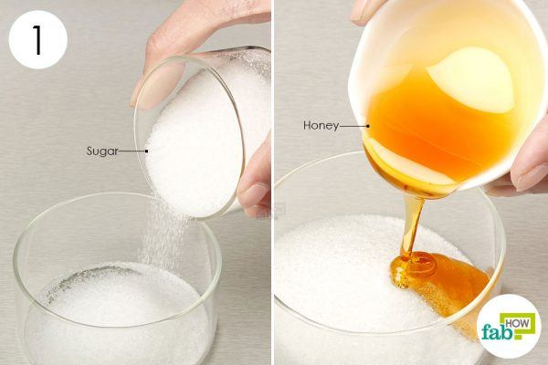 put sugar and honey in a bowl