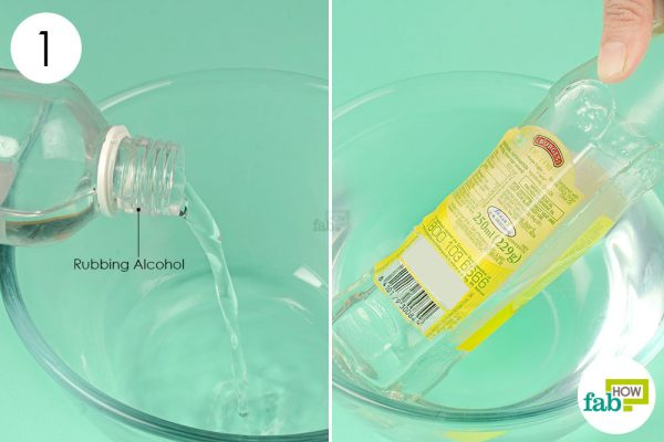 soak the label in rubbing alcohol