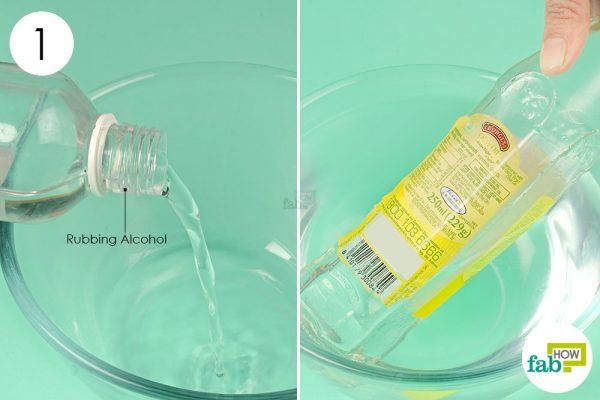 soak the label in rubbing alcohol