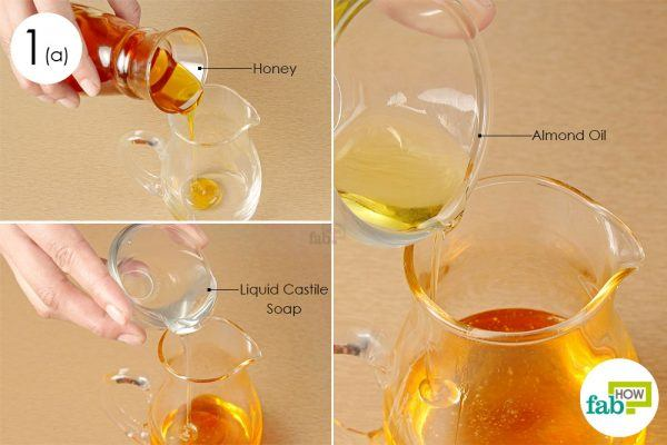 put honey liquid castile soap and almond oil in a jar
