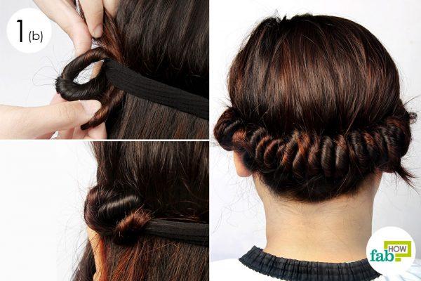 coil strands around the headband