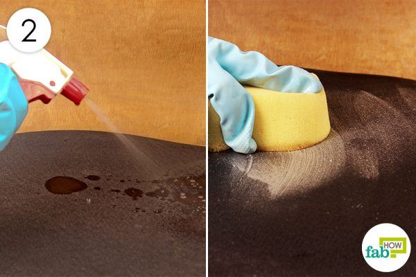 clean the fabric with hot soap solution