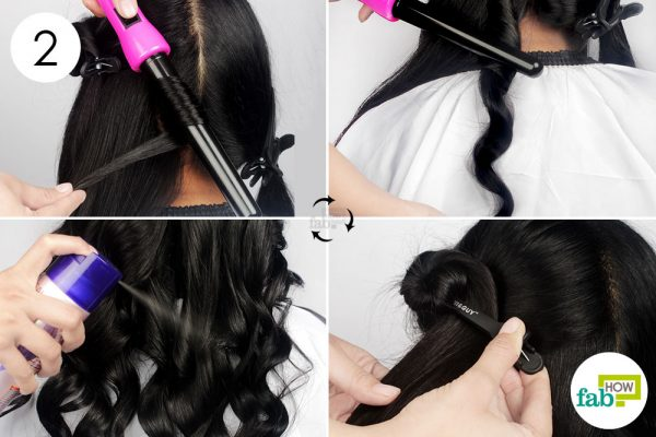 curl small sections with curling wand