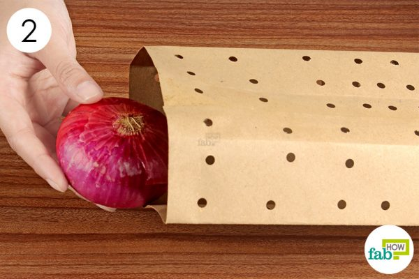 place the onions in the bag