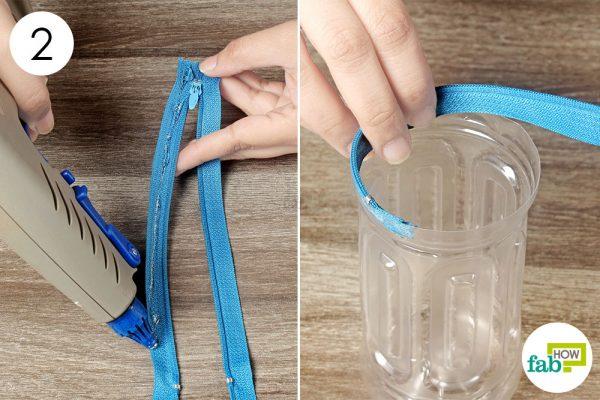 glue the zipper onto the bottles