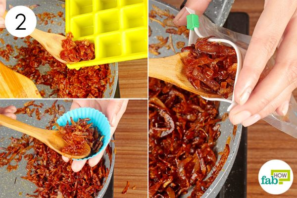 put caramelized onion in ice tray muffin mold or zip lock bag