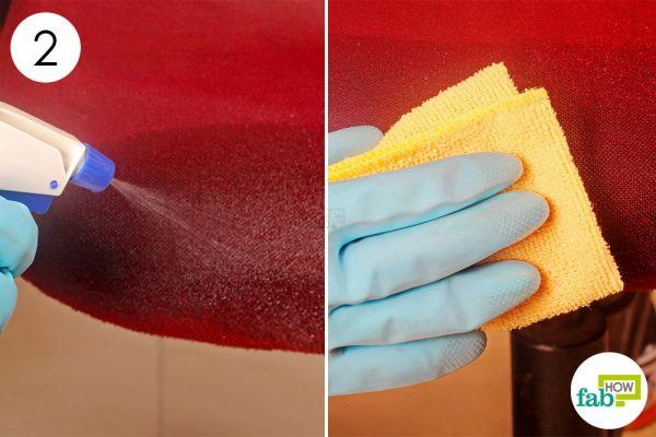 spray diluted vinegar on the stain and clean