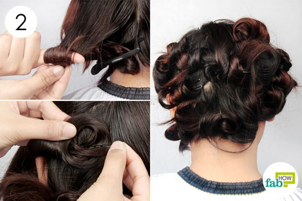 twirl small sections of hair and secure with bobby pins
