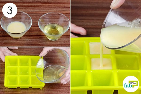 fill ice cube tray with seperated yolk and white