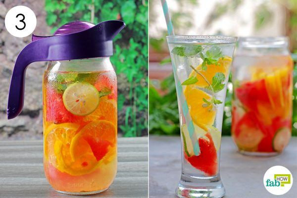 serve the flavored water in a glass