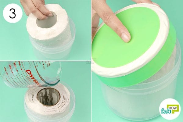 soak the roll in the cleaning solution