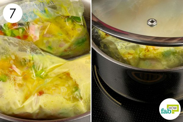 cook the ziploc bag in boiling water