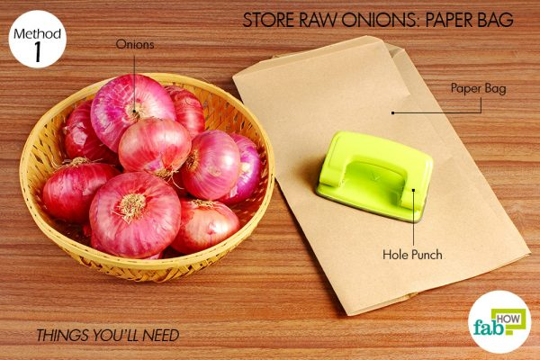things you'll need to use paper bags to store onions