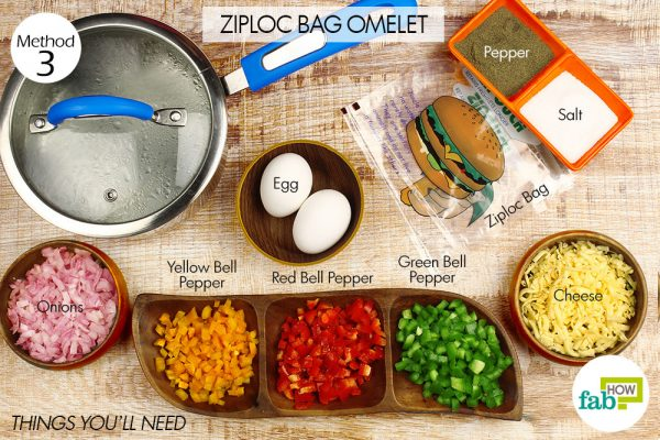 things you'll need to make ziploc bag omelet