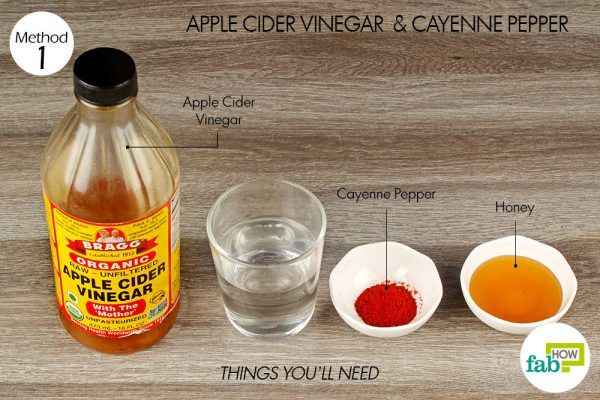 things you'll need for using apple cider vinegar and cayenne pepper to get rid of laryngitis