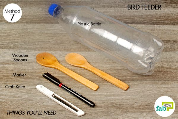 things you'll need to make bird feeder made with plastic bottle