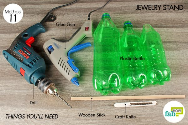things you'll need to make jwellery stand made with plastic bottle