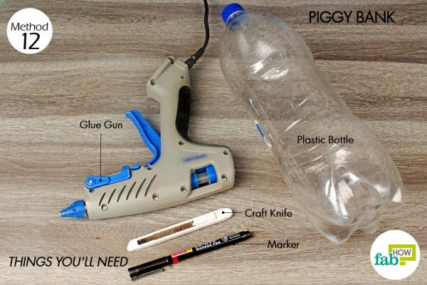 things you'll need too make piggy bank made with plastic bottle