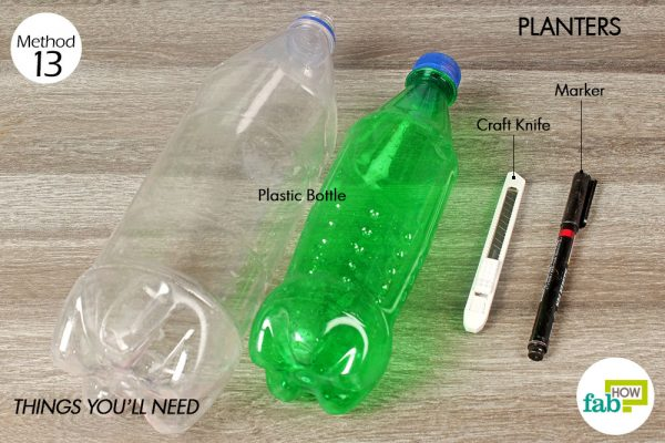 things you'll eed to make planter made with plastic bottle