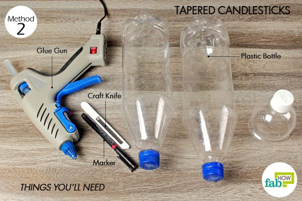 things you'll need to make tapered candlestick made with plastic bottle