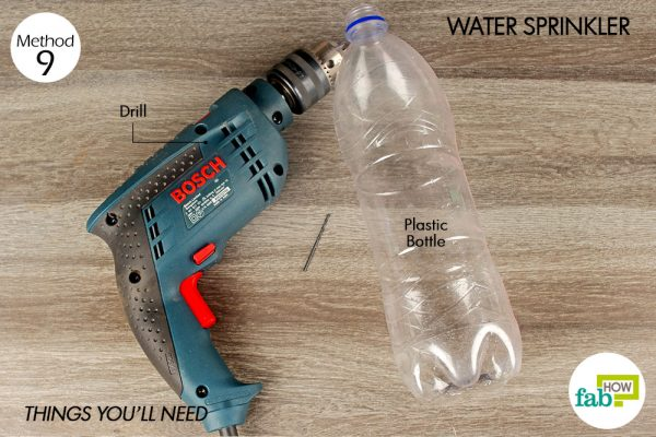 things you'll need to make water sprinkler made with plastic bottle