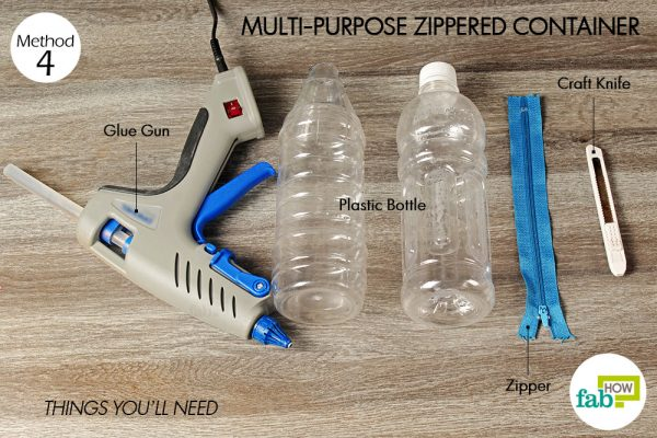 things you'll need to make zippered container made with plastic bottle