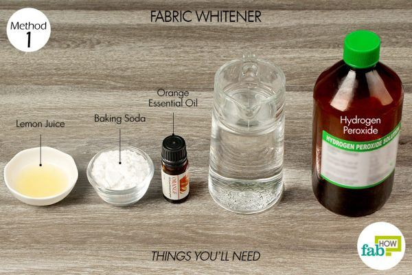 things you'll need to use hydrogen peroxide to make fabric whitener
