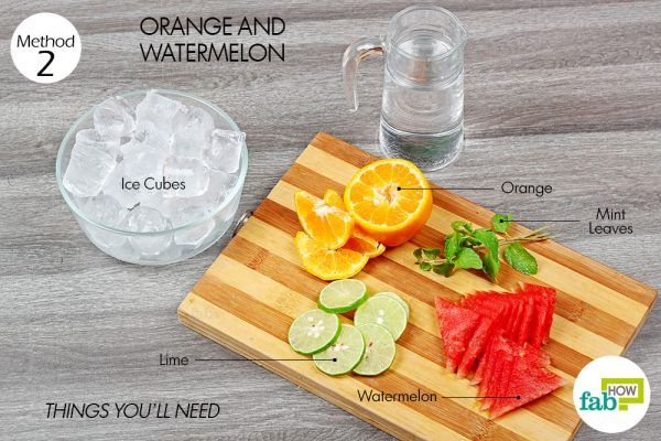 things you'll need to make flavoredwater using orange and pineapple