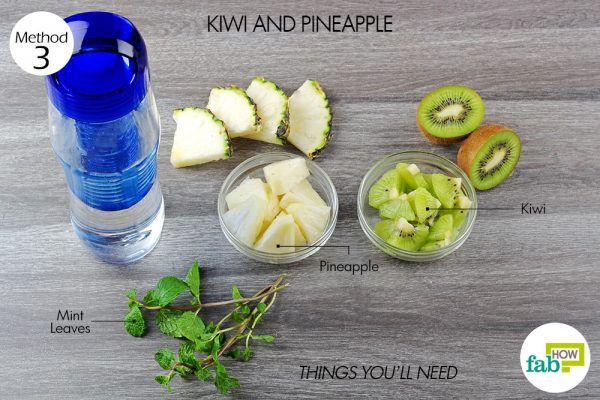 things you'll need to make flavored water using pineapple and kiwi
