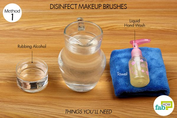 things you'll need to use rubbing alcohol to disinfect makeup brushes