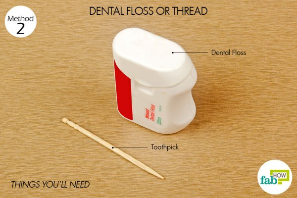 things you'll need for using floss to remove stucj ring