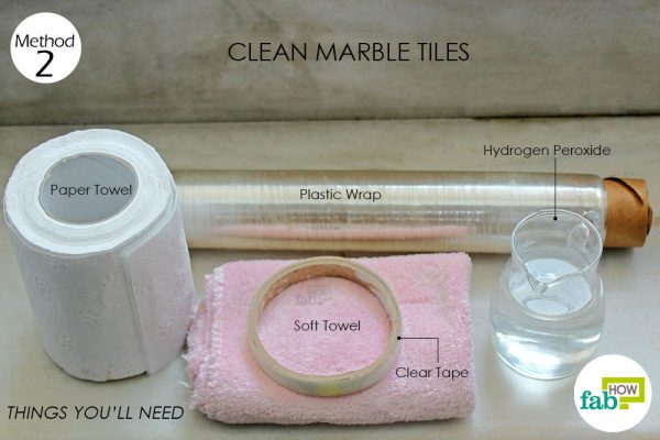 things you'll need to use hydrogen peroxide for cleaning marble tiles