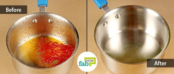 before and after cleaning stainless steel pan with windex