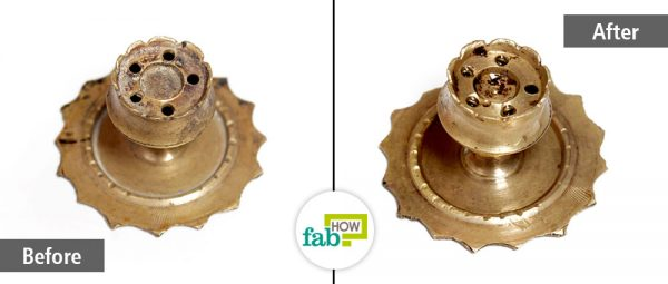 before and after cleaning brassware