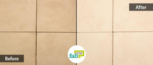 before and after removing stains from grout