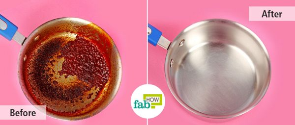 before and after cleaning stainless steel cookware