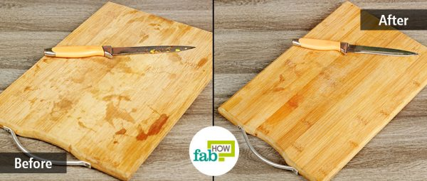 before and after cleaning wooden cutting board and knife