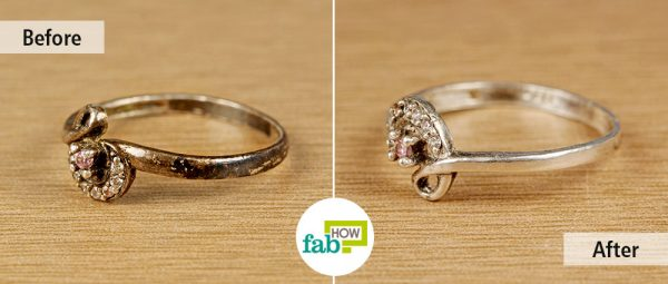 before and after make jewelry sparkle with windex
