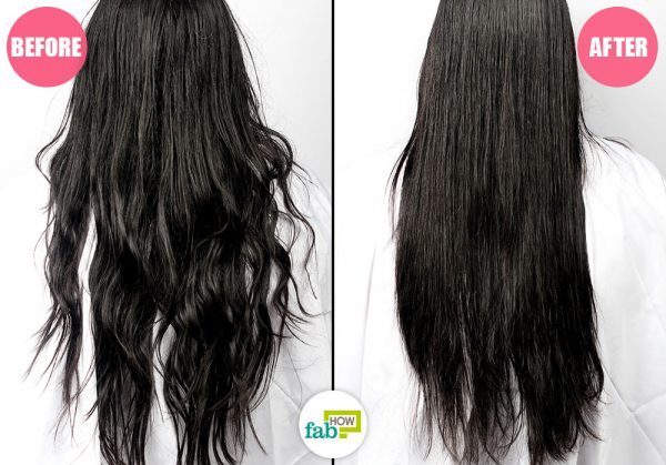 before and after straightening hair with coconut milk and lemon