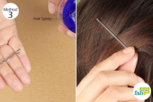 apply hairspray on bobby pin before putting it on hair
