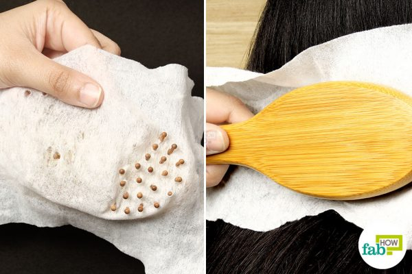cover a hairbrush with a dryer sheet