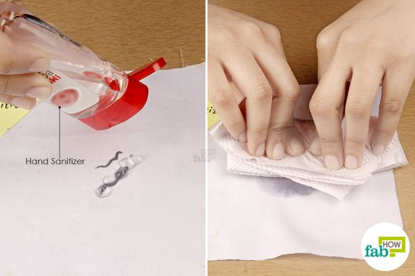 apply hand sanitizer on the stain and blot with paper towel