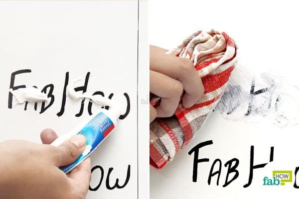 buff the marking with toothpaste and dish towel
