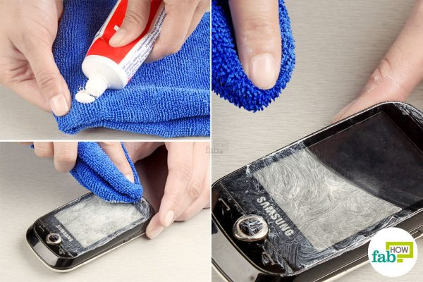 buff the scratched screen with toothpaste