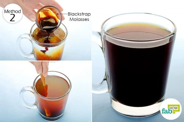 mix blackstrap molasses to warm water and drink