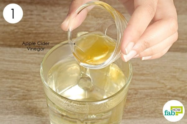 add apple cider vinegar to warm water