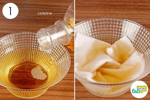soak paper towel in listerine