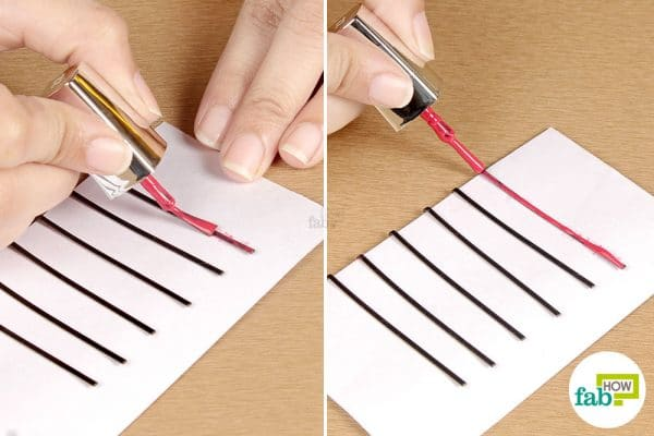 apply nail polish on the flat side of the bobby pin