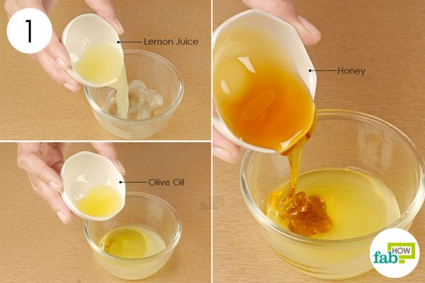 combine lemon juice with honey and olive oil